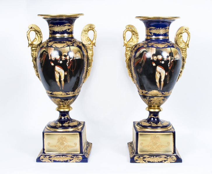 Pair Of Large French Empire Porcelain Vases Napoleonic photo 1