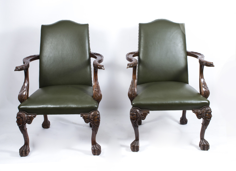 Pair Of Large Birds Of Prey Leather Library Chairs