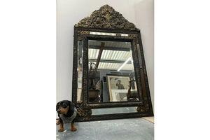 Thumb large 19th c franco flemish ebony brass repousse bevelled cushion mirror 67 0
