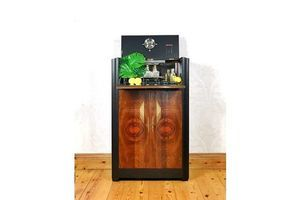 Thumb cocktail cabinet 1960 s mid century tall black and gold with geometric design drinks cabinet or gin bar 0