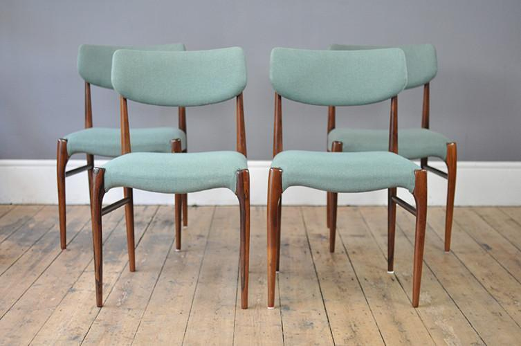 Set Of Four Turquoise Rosewood Dining Chairs