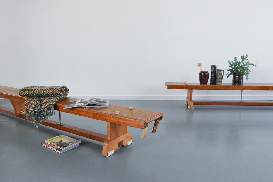 Pleasing Vintage Long Wooden Traditional School Sports Bench By Niels Larson Son Ltd Machost Co Dining Chair Design Ideas Machostcouk