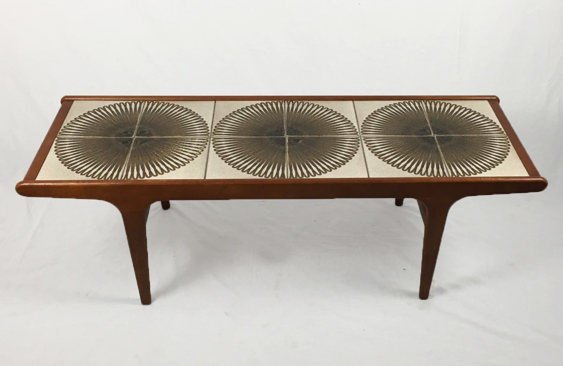 Mid Century Danish Style Teak Tile Long Coffee Table ...