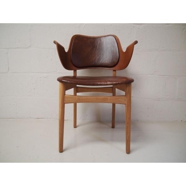 Hans Olsen For Bramin Brown Leather Chair