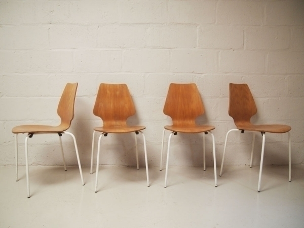 Set Of 4 Vintage Danish Stacking Chairs