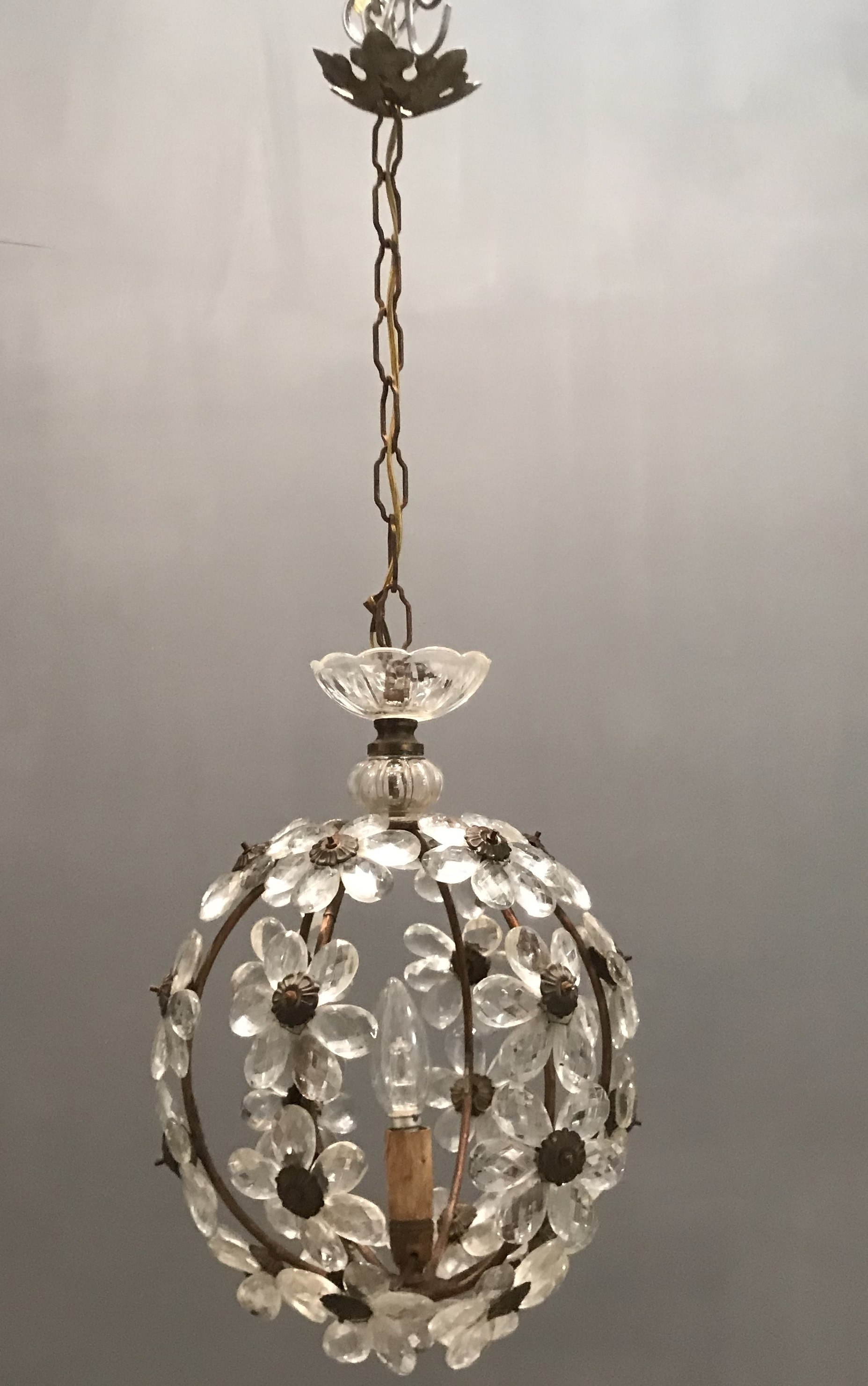 French Crystal Flower Chandelier By Maison Bagues Vinterior