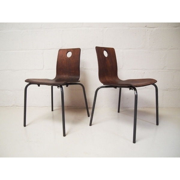 Pair Of Vintage Danish Brown Stacking Chairs photo 1