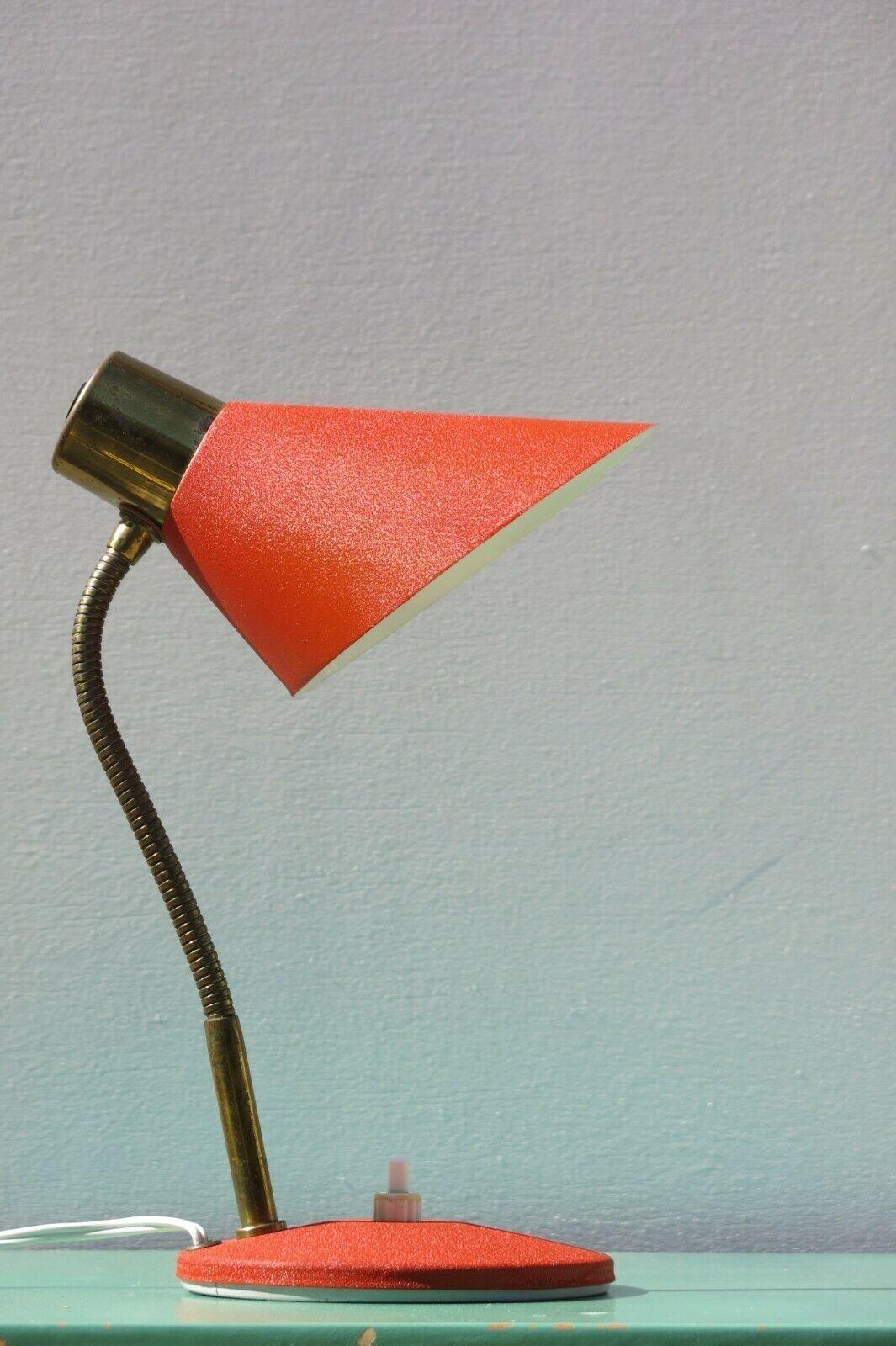 Vintage Mid Century Modern Red Desk Lamp Vinterior