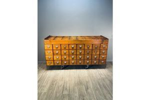 Thumb wooden filing cabinet 32 drawers vintage 0
