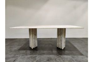 Thumb white marble dining table 1970s 0