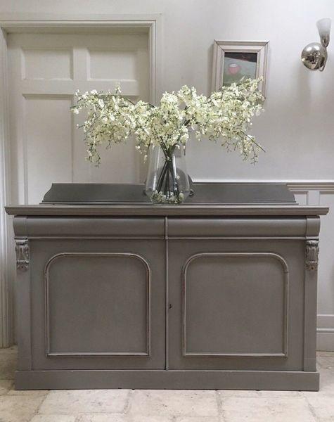 Antique Victorian Painted Mahogany Sideboard Server Grey Kitchen Dresser Cupboard