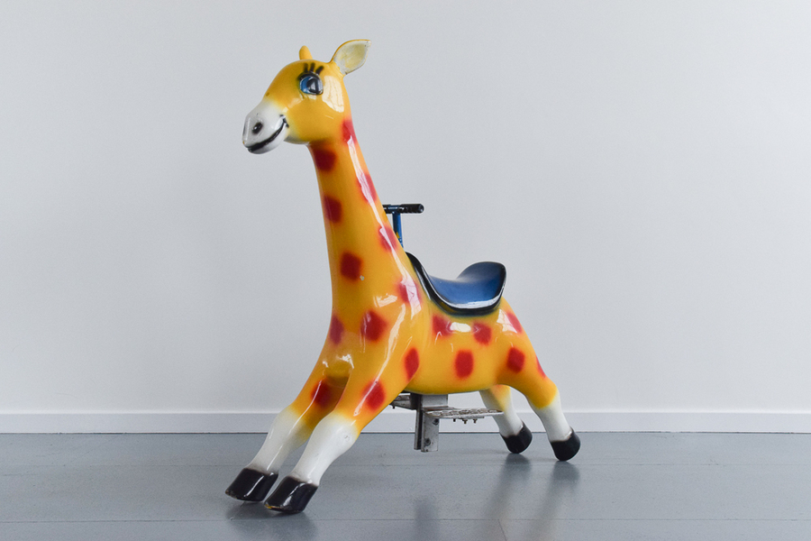 Vintage Large Fairground Ride On Fibreglass Giraffe
