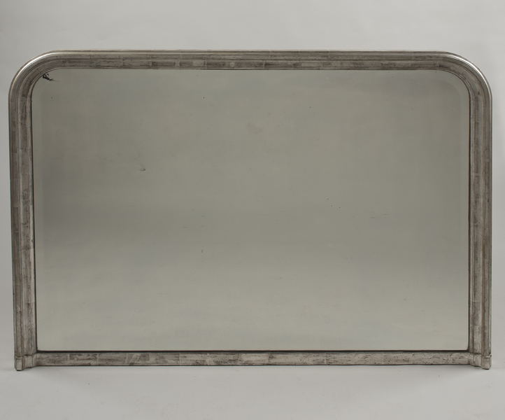 A Large French 19th Century Silvered Overmantle Mirror