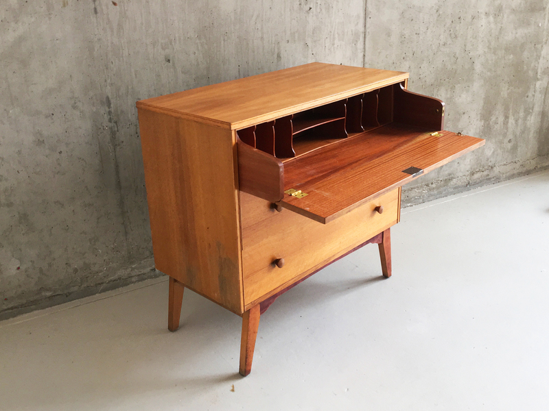 1960's Mid Century English Chest Drawers With Pull Out Bureau/Desk