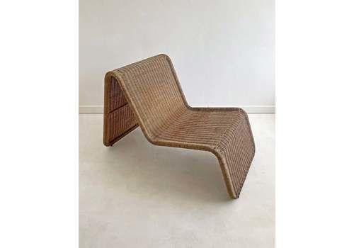 Vintage Rattan Easy Chair, Tito Agnoli P3 Style, C.1960