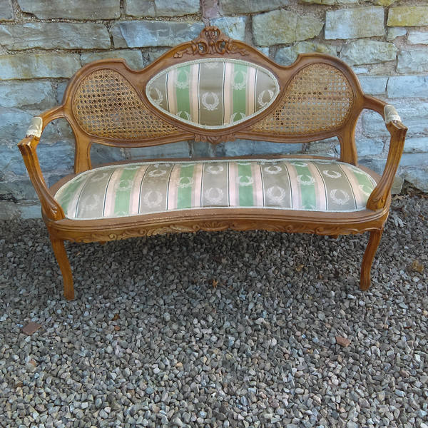 Antique French Louis Xv Style Salon Sofa With Rococo Carved Frame