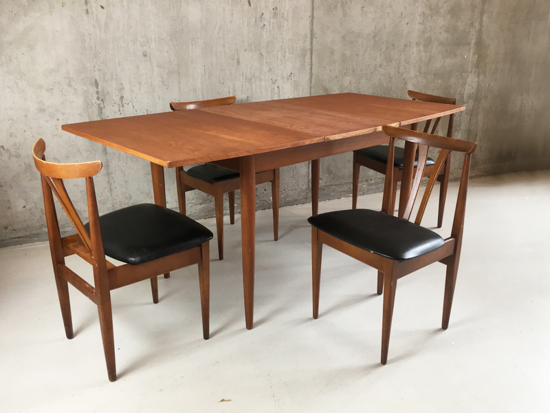 1970's Mid Century Dining Set With Extendable Teak Table And Vinyl Chairs