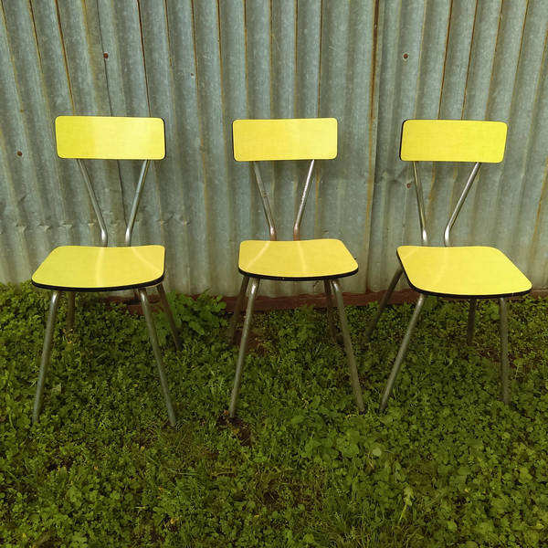 Vintage Retro Yellow Formica Diner Cafe Chairs Set Of 3 With Metal Tube Legs