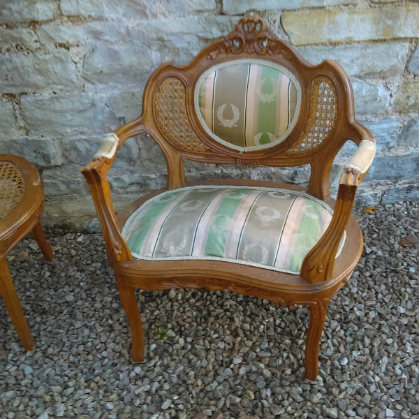 Late C19th Or Early C20th Pretty Shape Cane Back French Armchair