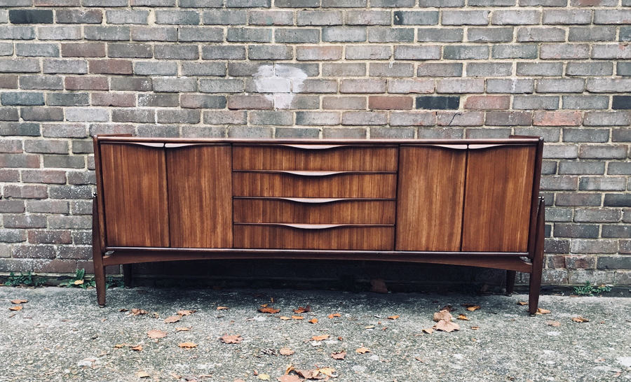 Mid Century Rosewood And Zebrano Rocket Leg Credenza: Media Console By Eon