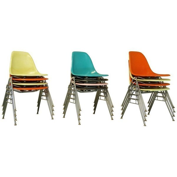 Vintage Mid Century Eames Fiberglass Stacking Shell Chairs, Dss N Side Chairs