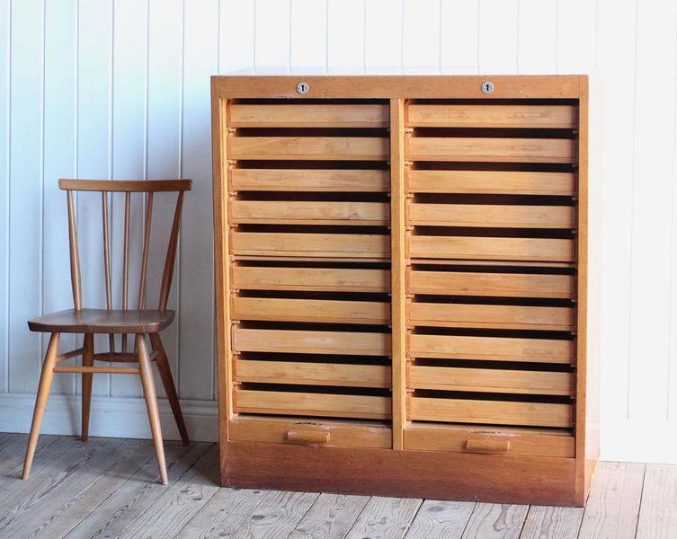 Vintage Danish Wooden Double Tambour Filing Cabinet