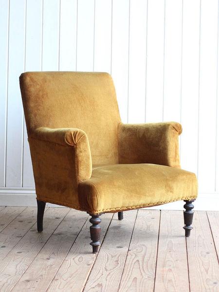 Vintage Antique French Mustard Velvet Arm Chair Victorian