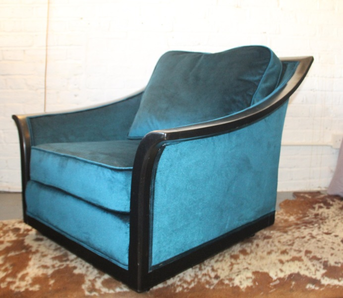 Unusual Large 1960s Armchair By Burov, Paris. Newly Upholstered In Deep Turquoise Velvet