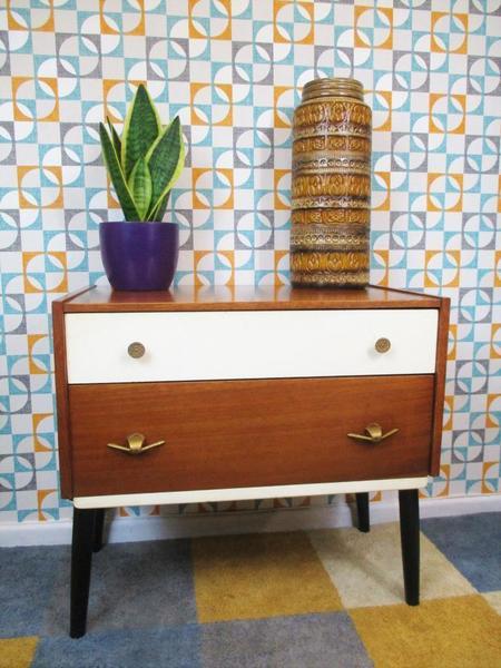 Vintage 1960's Teak Bedroom Chest Of 2 Drawers Atomic Retro Mid Century Home Mcm