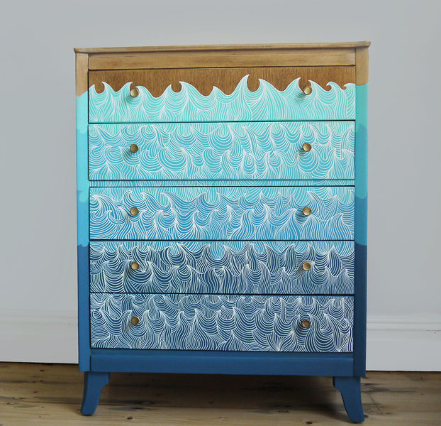 Upcycled Retro Vintage 'Malin' Chest Of Drawers Storage Wave Nautical Themed