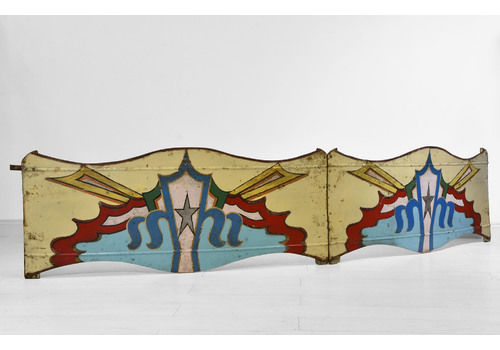 Pair 1950s Decorative Painted Metal Fairground Curved Panels Sign