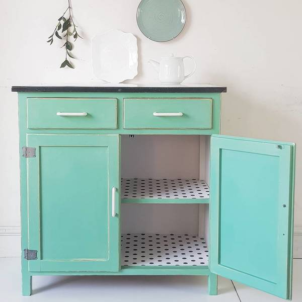 Vintage 1940s Enamel Annie Sloan Painted Upcycled Kitchen Cupboard & Polka Dots