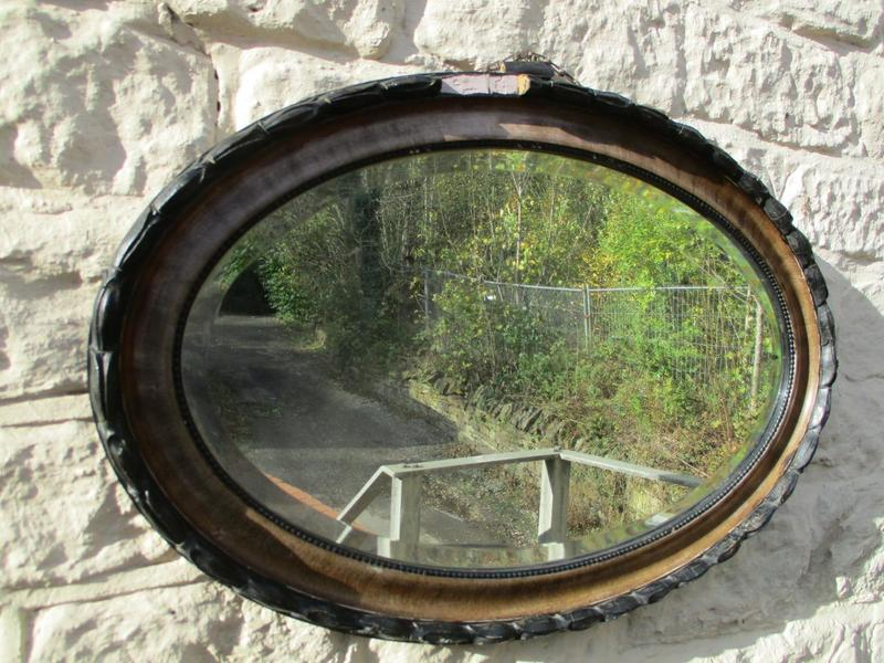 Stunning! Antique 1900's Large Oval Bevelled Edge Mirror On Chain Edwardian