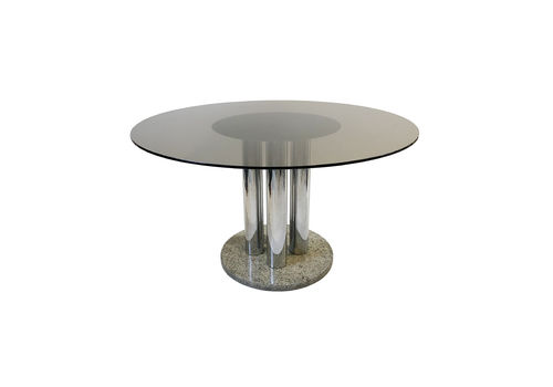 Zanotta Chrome And Granite Circular Dining Table Smoked Glass Space Age Marble Hollywood Regency