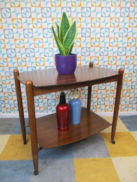 Vintage 1960's Vanson Teak Wooden Tea Trolley