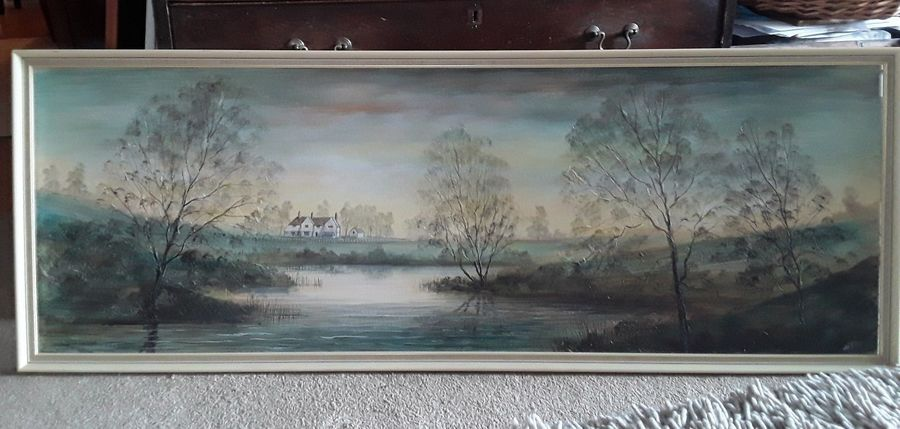 Mid Century Signed Jack Ray Large Rectangular Painting In Frame