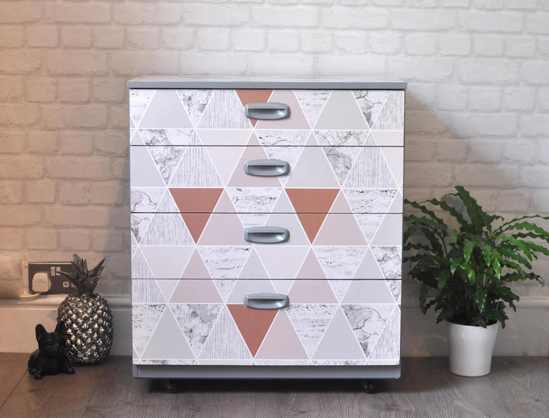 Upcycled Mid Century Modern Schreiber Chest Of Drawers Blush Geometric Decoupage Caster Wheels
