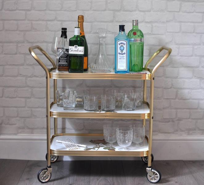 Beautiful Vintage Retro 1960s 3 Tier Gold Drinks Cart