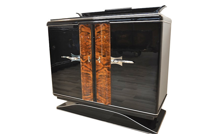 Black Art Deco Commode With Chrome Handles