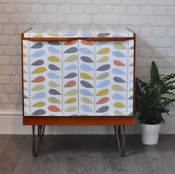 Upcycled Retro Vintage Cabinet With Industrial Hairpin Legs, Leaf Pattern Print Decoupage, Tv Stand, Drinks Cabinet