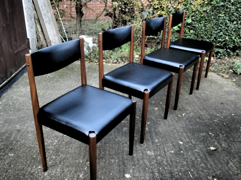 Set Of 4 Dining Chairs, Designed By Poul Volther And Produced By Frem Rojle In Denmark.
