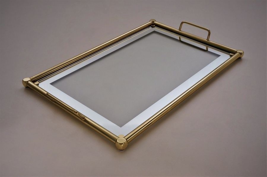 Brass Serving Tray With Mirrored Glass, Romeo Rega, 1970`s Ca, Italian