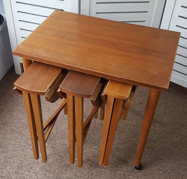 Vintage Nest Of Folding Tables And Trolley
