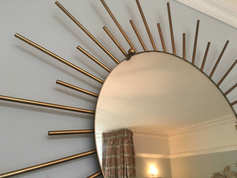 French Metal Sunburst Mirror 50s 60s Gold Chaty Vallauris Style