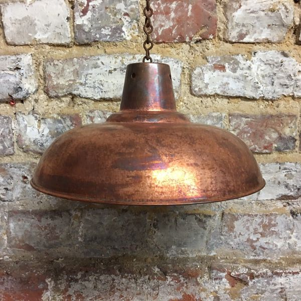 Copper Plate Metal Kitchen Pendant Lampshade Industrial Chic Rough Luxe