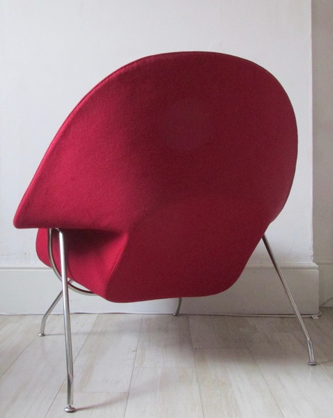 Post Modern Chrome Wool Lounge Chair