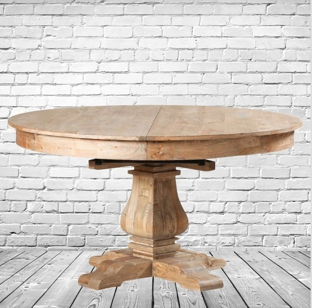 Round Elm Extending Dining Table. Solid Reclaimed Elm. Pedestal Base.  Seats 6 To 9 People. Free Delivery.