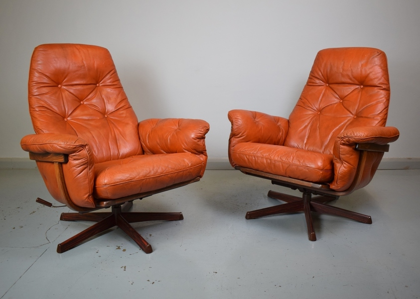 (1 Of 2) Mid Century Retro Swedish Tan Red Leather Reclining Swivel Lounge Chair 1 Sold