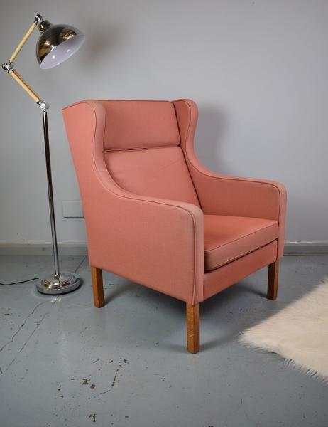 Mid Century Retro Danish Wing Back Armchair In Salmon Pink Wool 1970s