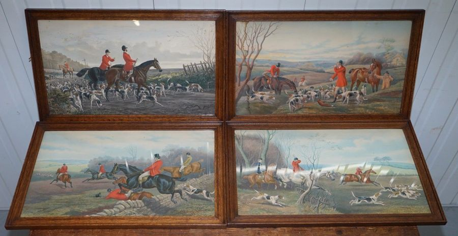 Set Of Four Early Victorian Hunting Prints Hand Coloured English Oak Frames